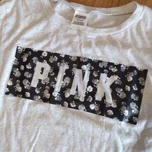 PINK Victoria Secret black white floral t-shirt L